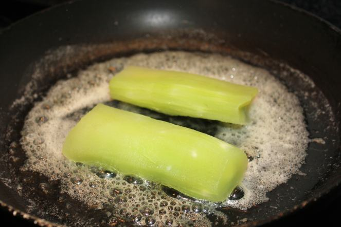 Frying Celtuce Stems